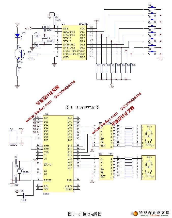 红外遥控电路设计(附源程序,电路图)(任务书,开题报告,中期报告,外文翻译,论文10000字,源程序) The design of circuit by infrared control 设计要求及指标 红外遥控是目前使用较多的一种遥控手段。红外线遥控装置具有体积小、功耗低、功能强、成本低等特点。在家庭生活中,录音机、音响设备、空调彩电都采用了红外遥控系统。设计要求利用红外传输控制指令及智能控制系统,借助微处理器强大灵活的控制功能发出脉冲编码,组成的一个遥控系统。红外线编码是数据传输质是一种脉宽调制的串行