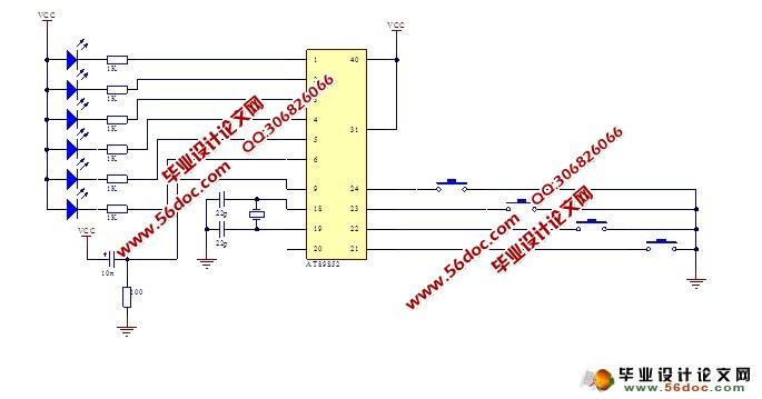 汽车尾灯控制电路设计(附程序,电路原理图)(任务书,开题报告,中期报告,外文翻译,论文3200字) 系统概述 本设计以AT89S52单片机为核心,构成单片机控制电路,完成对它们的自动调整和掉电保护。人机接口由四个按键来实现,用这四个按键对汽车左转,右转,停车和检测进行控制。。软件控制程序实现所有的功能。整机电路使用+5V稳压电源,可稳定工作。系统框图如图2-1所示,其软硬件设计简单,可广泛应用于长时间工作的系统中。 3 方案选择 由于汽车尾灯控制电路的种类比较多,因此方案选择在设计中是至关重要的。正确地选