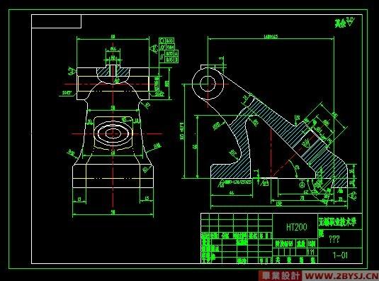 摘 要 本课题主要是设计某机床尾座体的加工工艺及夹具的设计,在设计中采用先设计该尾座体的加工工艺在根据加工工艺来选取夹具的设计的方案和夹具的具体设计;而设计的重点是夹具的设计。由于工件的孔17和14都要以底面做为基准加工,故首先得做出底面的加工夹具。加工孔14的夹具其实就是在加工底面夹具的基础上加了一个45度斜度板。我们设计的夹具就具有对孔14的夹具定位准确,和加工时间小,提高劳动生产率。 关键词 加工工艺,夹具,尾座体,设计 零件的分析 (一)零件的作用 题目所给的零件是磨床上的尾座体。在零件中,顶尖与