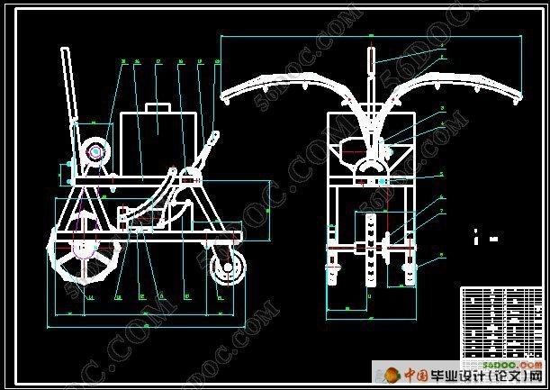 该移动式电动喷雾机采用蓄电池作为动力源,叶片泵为液泵,并配有两个