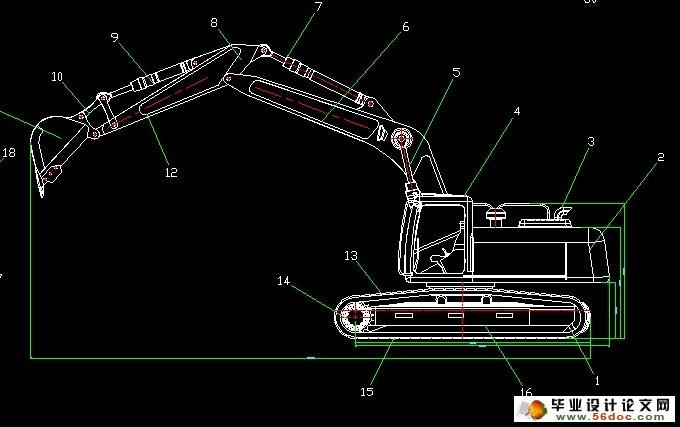 图纸6张) 挖掘臂后倾式卸料方式 其原理是:在倾卸油缸的作用下,挖掘臂、液压机构及挖掘臂内的物体绕车架尾部的回转中心旋转,旋转至一定角度后挖掘臂内的物体靠自重下落实现卸料作业。这种卸料方式的优点是结构简单,但在实际使用时存在许多弊端,如: a. 由于物体在挖掘臂内被压实,物体与挖掘臂四周存在着较大的膨胀力与磨檫力,物体不易倒出,严重时物体的自重不足以克服摩擦力,产生物体胀死现象。 b.