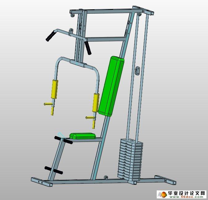单人多功能健身器材产品3d设计