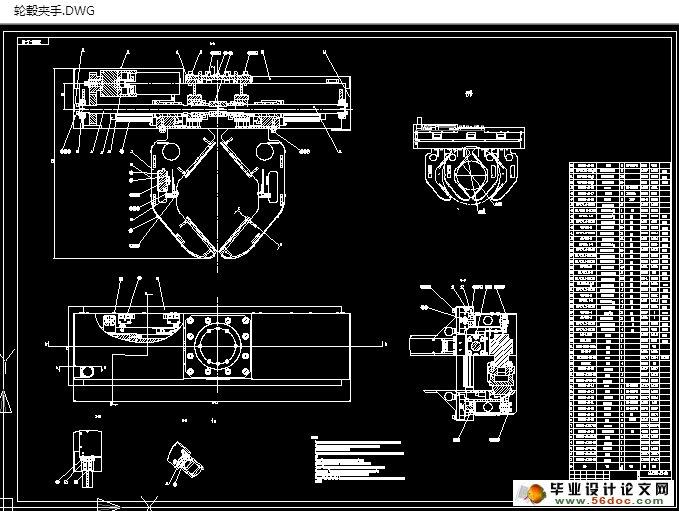 图纸4张) 轮胎夹持机械手的设计关键技术参数 本机械手的夹持工件 1、轮胎的重量30kg到50kg 2、夹手具备抓取轮胎的直径范围在:255-510mm,轮胎的厚度:100- 150mm 3、机械手的夹持速度0.5m/s 2.2传动方案设计 2.2.1原理设计 1.电机2.减速器3.齿轮4.轴5.左旋丝杠6.夹手7.丝杠螺母8.