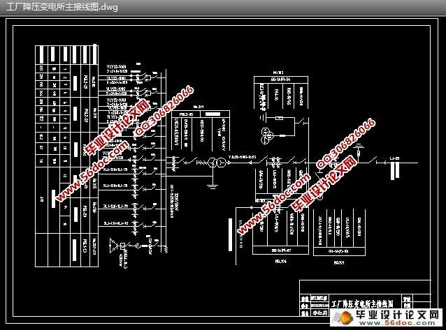 工厂变电所供配电系统设计(含cad平面图,主接线图)