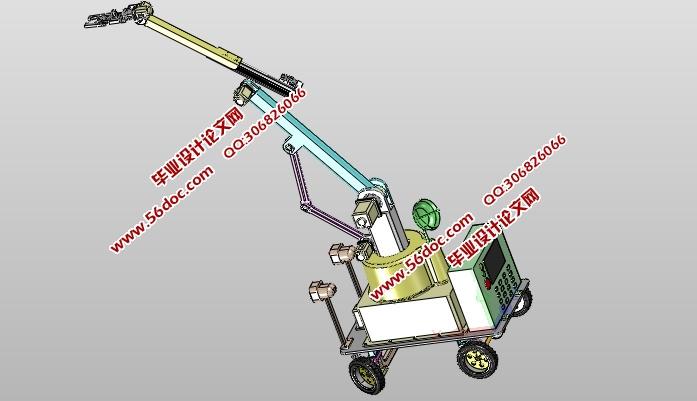 全自动摘果机的创新设计(含CAD零件装配图,SolidWorks,IGS三维图)(论文说明书10800字,CAD图纸12张,SolidWorks三维图,IGS三维图) 本课题来源农业相关摘果机——摘果机。随着摘果机技术的发展国内外开始探索相关技及先进成果应用在农业领域,其中果实采摘收割摘果机是农业领域中相对大的比重,相关摘果机随着技术进步及相关经验的成熟会为人们解放劳动力、提高工作效率等方面有不可估量的前景。 本文运用大学所学知识,设计了一款轮式摘果机,本摘果机通过轮式底部结构可自