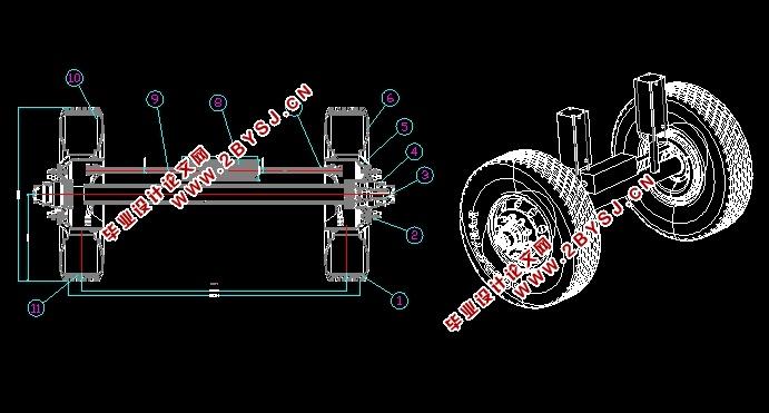 图纸4张,UG三维图) 本设计的变速箱采用两轴式两挡和锁环式同步器换挡,这种布置形式缩短了轮边驱动轴向尺寸,在保证挡数不变的情况下,减少齿轮数目,从而使轮边驱动结构更加紧凑。电动汽车的轮边驱动与普通轮边驱动相比,其结构有所不同。因为驱动电机的旋向可以通过电路控制实现变换,所以电动汽车无需内燃机汽车轮边驱动中的倒档而设置倒档轴,只需应用电机反转来实现倒车行驶。设计中利用已知参数确定轮边驱动各挡轮边动力比、中心矩,齿轮的模数、压力角、齿宽等参数,由中心矩确定箱体的长度、高度、轴径,对轴和各挡齿轮进行校核,绘制