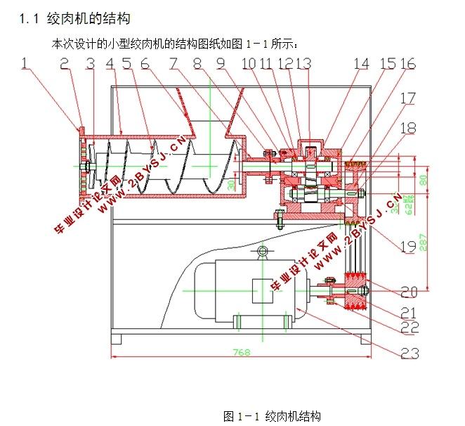 家用小型绞肉机_小型普通家用型绞肉机的设计(含CAD零件装配图)|机械毕业设计