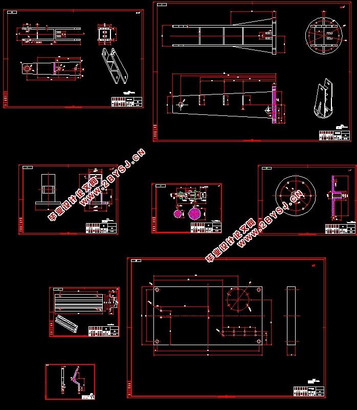 送料机械手的设计(含CAD零件装配图,IGS,SolidWorks三维图)(论文说明书8600字,CAD图纸9张,IGS三维图,SolidWorks三维图) 摘要 本次毕业设计的题目是送料机械手的设计,首先对送料机械手的工况进行分析,此多工位专用机械手完成小臂上下俯仰、大臂正反向回转、行走装置进退三个自由度,以及手爪的开启和闭合等动作,然后给出该送料机械手的液压系统的电磁元件动作循序表和液压系统原理图。 本械手由大臂结构,小臂、旋转结构和驱动机构组成,该设计能实现三个自由度,分别为手爪的开合,旋转,小臂的