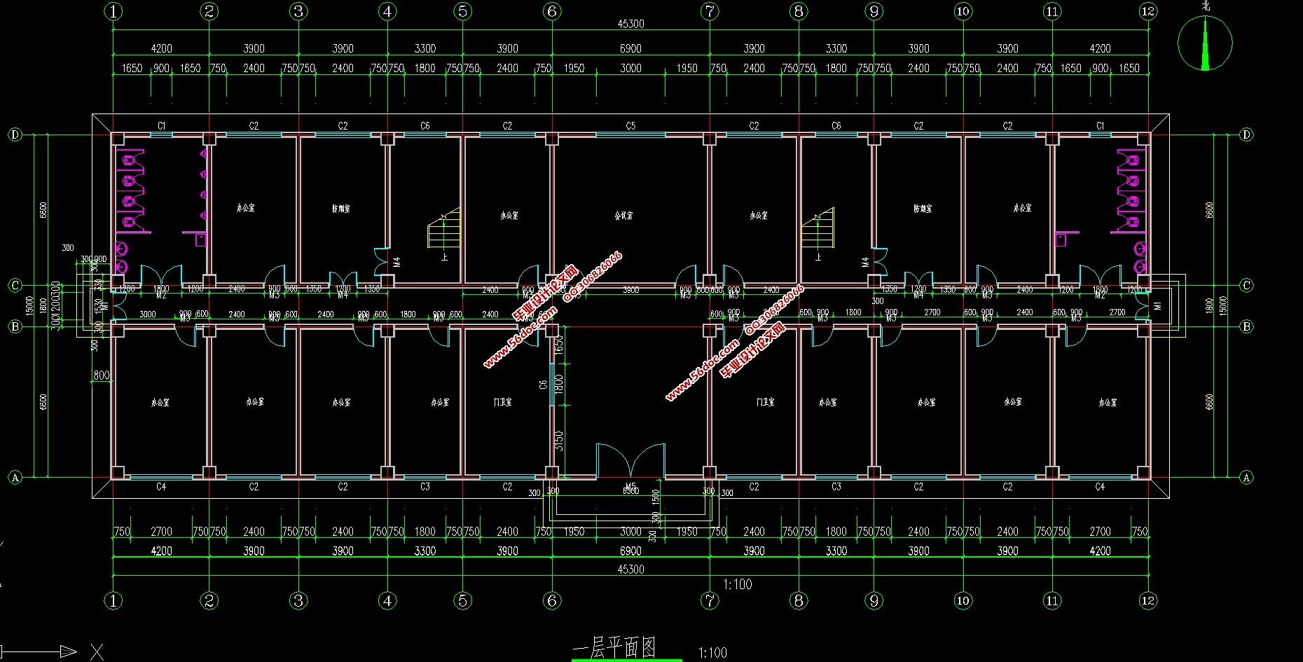 图6张,结构图9张) 江西江西某6层框架办公楼,位于有密集建筑群市区,该工程为钢筋混凝土框架结构,总建筑面积4164.0,地上六层,一层层高3.60m,二层层高3.60m,其余各层层高3.60m,总建筑高度28.80m。 施工现场情况 本建筑两侧临近公路,交通方便,实现了三通一平。施工场地相对宽敞,有利于机械的布置和材料周转、施工材料的堆放,施工难度相对较小。 水文、地质条件、气象情况 气象条件 施工期间正适春夏两季,主导风向为南风、西南风,雨季为七、八月,施工期可能需要考虑冬季施工。 地质条件