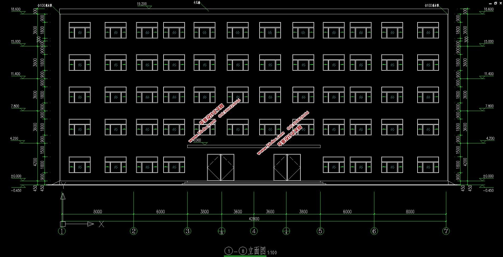 图9张,结构图10张) 1.1 设计原始资料 1.1.1 工程概况 该工程主体为现浇钢筋混凝土框架结构,建筑面积4005.0,建筑物共5层,底层层高4.2m,标准层层高3.60m,顶层层高3.60m,总高度18.6m,室内外高差0.450m 该办公楼拥有门厅、办公室、会议室、厕所等。楼内设有2台电梯2个楼梯,楼梯的布置均符合消防、抗震的要求。 1.