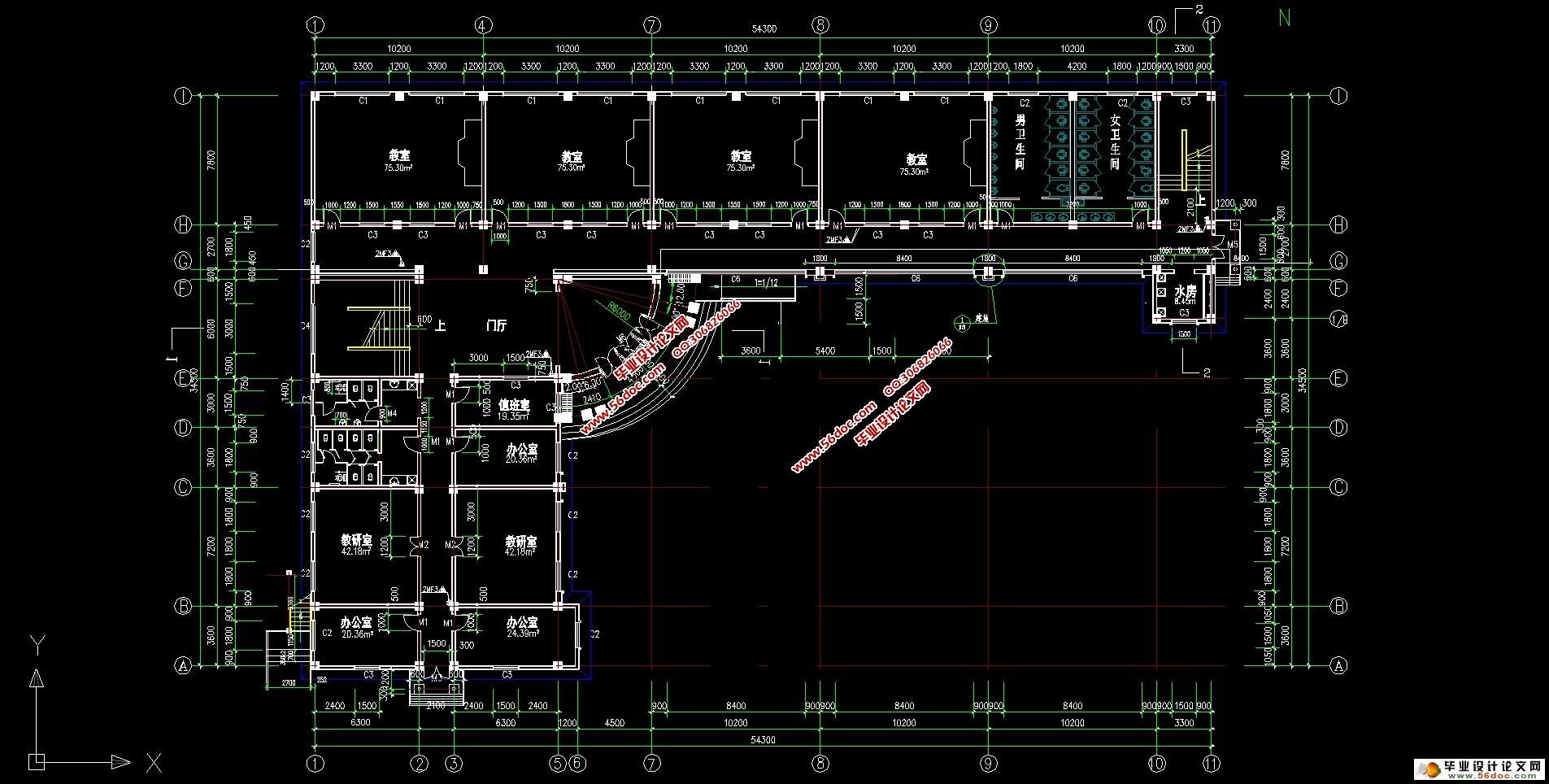 四层4000平米小学教学楼的设计(建筑图,结构图,总平面