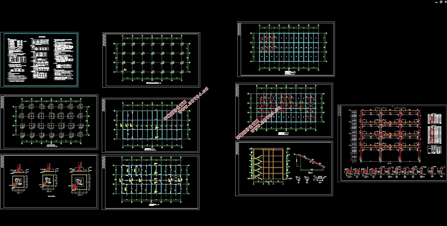 图10张,结构图9张) 本工程是同心县多功能图书馆设计,为混凝土框架体系。毕业设计过程中主要是对建筑设计和结构设计两部分进行的。对于结构设计又分为手算及电算两部分,其中建筑部分主要是对建筑功能进行分区,进一步确定建筑物的平面、立面以及剖面。而在结构设计部分,主要是进行梁柱的截面设计和整个建筑物的抗震设计。手算部分的具体内容是对选定的一榀横向框架进行框架的结构梁柱进行设计,即在确定计算简图的基础上,通过对水平荷载和竖向荷载的统计计算组合出梁柱的最不利内力组合,并以此为设计依据来确定梁柱的截面尺寸和所需钢筋的