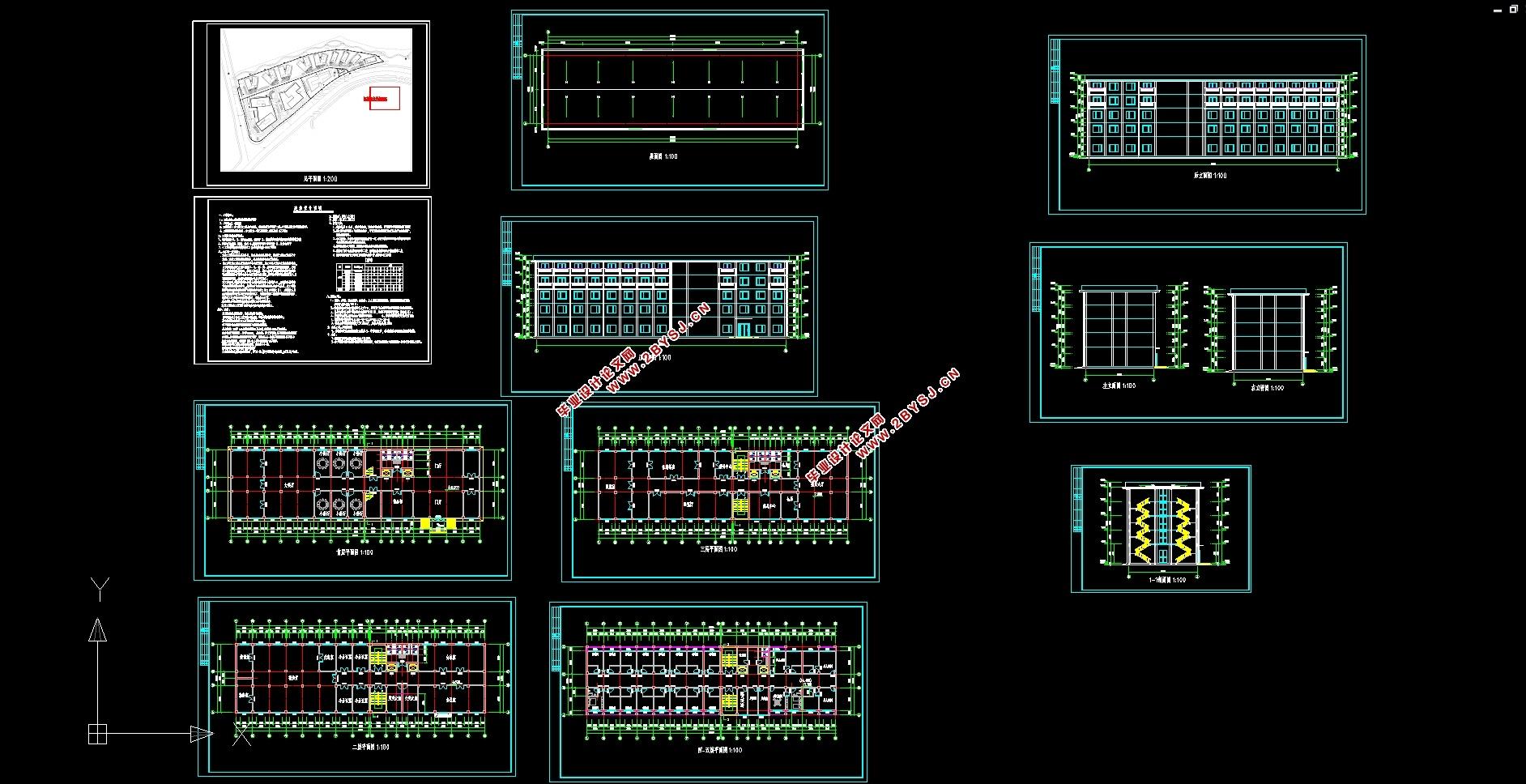五层4750平米梅溪湖某快捷酒店设计(建筑图,结构图)