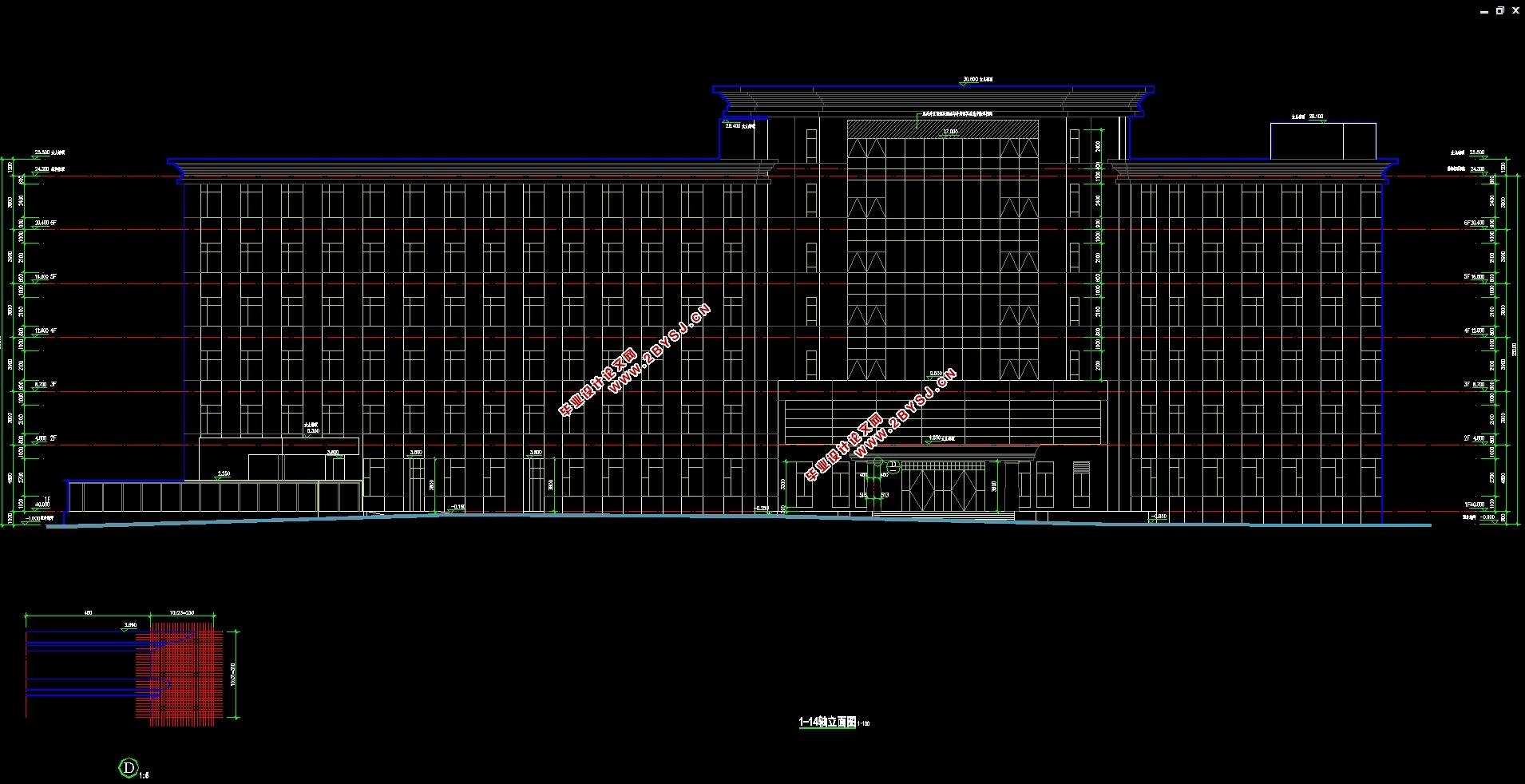 六层17000平米北京机关医院综合楼设计(建筑图,结构图
