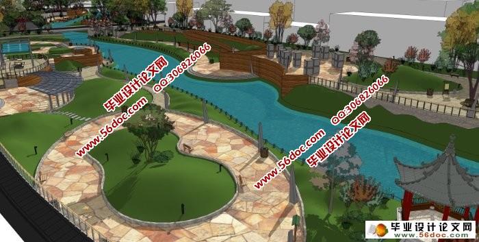 城市滨水景观规划设计(环境艺术)(附效果图,3d模型,cad图,展板)